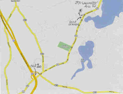 Map to the cottage at 370 Lancaster Hill Road, Tilton, NH
